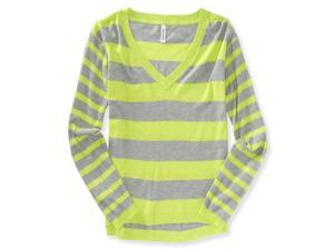 Aeropostale Womens Striped V Neck Knit Sweater 312 XL