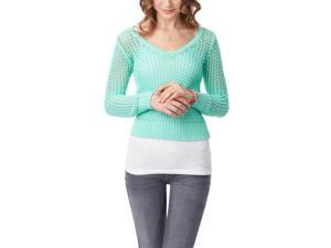 Aeropostale Womens Solid Cable V Neck Knit Sweater 134 XL