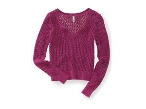 Aeropostale Womens Solid Cable V Neck Knit Sweater 587 S