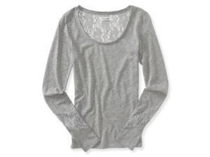 Aeropostale Womens Sheer Lace Embellished T-Shirt 052 S