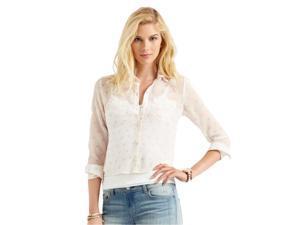 Aeropostale Womens Sheer Hearts Button Up Shirt 047 S