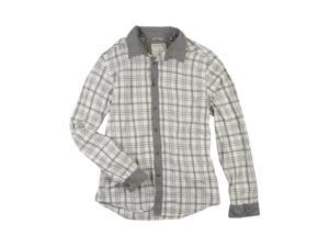 GUESS Mens Casual Plaid Button Up Shirt regencybeige 2XL