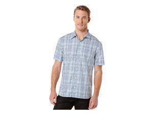 Perry Ellis Mens Multi Plaid Button Up Shirt insigniablue Big 2X