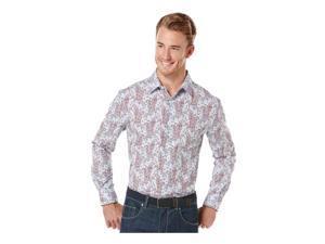 Perry Ellis Mens Gingham Paisley Button Up Shirt aurorared XL