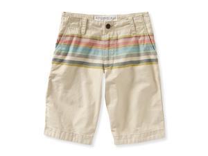 Aeropostale Mens Striped Flat Front Casual Walking Shorts khaki 28