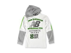 New Balance Boys 2 Fer Hooded Graphic T-Shirt whitegray 14/16