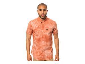 RVCA Mens The That'll Do Tye Dye SS Button Up Shirt ketchup L