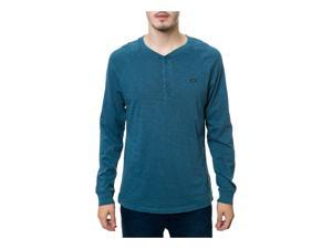 RVCA Mens The Ausitn Henley Shirt bluethunder S