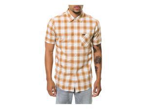 RVCA Mens The Gazi SS Button Up Shirt lightbrown S