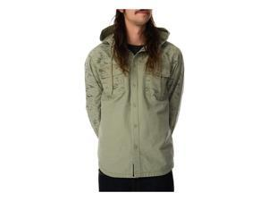 RVCA Mens The Surplus LS Hooded Button Up Shirt amd M