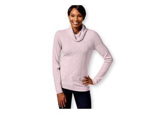 Karen Scott Womens Cable Knit Mock Pullover Sweater pinkice XL