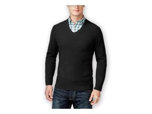 Club Room Mens Diamond-Knit V Neck Pullover Sweater deepblack 3XL