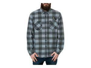 RVCA Mens The Fletcher Flannel Buttodown Button Up Shirt gray S