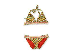 Lucky Brand Womens Santiago Side Tab 2 Piece Bikini sunrise S