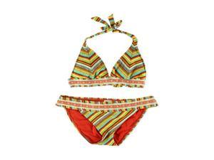 Lucky Brand Womens Santiago Side Tab 2 Piece Bikini sunrise M