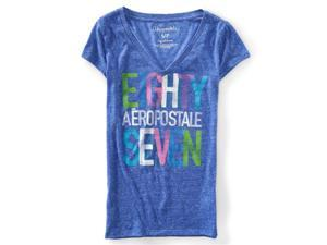Aeropostale Womens Stacked Eighty Seven Graphic T-Shirt 934 S