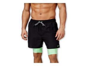 Nike Mens 2-in-1 Training Swim Bottom Trunks black M