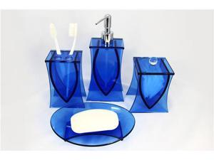 LIANG THING, Ocean Blue Glass 4-Piece Bath Set / Bath / Bathroom Accessories- Includes Lotion Dispenser, Toothbrush Holder, Cotton Canister & Soap Dish
