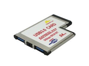 Express Card Expresscard 54 slot to USB 3.0 x 2 Port Adapter up to 5Gbps Compatible USB 1.1 / 2.0 Windows XP/Vista/7