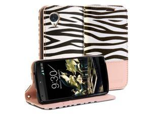 Wallet Case Simple for Google Nexus 5 - Pale Pink Zebra Pattern Slim Fit Protective Folio Wallet Stand Case Cover