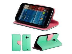 GMYLE (R) Wallet Case Classic for Motorola Moto X  - Mint & Pink PU Leather Slim Magnetic Flip Stand Cover