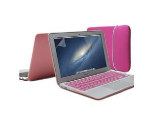 Pink 4 in 1 Rubber Coated Hard Case Cover for MacBook Air 13 inch - Sleeve Keyboard Cover - 13 inches Screen Protector