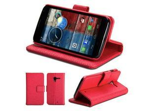 GMYLE(R) Metallic Red PU Leather Slim Fit Wallet Purse Stand Case for Motorola Moto X