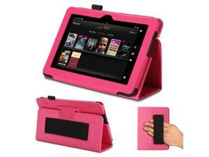 GMYLE(R) Hot Pink PU Leather Slim Flip Folio Stand Case Cover forKindle Fire HDX 7
