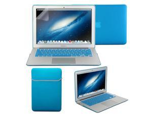 Iris Blue 4 in 1 Rubber Coated Hard Case Cover for MacBook Air 11 inch -  Sleeve Keyboard Cover - Screen Protector