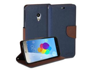 GMYLEWallet Case Classic for Meizu MX3 - Navy Blue & Brown Cross Pattern Slim Wallet Case Flip Stand Cover