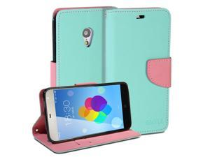 GMYLEWallet Case Classic for Meizu MX3 - Mint Green & Pink Cross Pattern Slim Wallet Case Flip Stand Cover