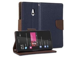 GMYLE(R) Wallet Case Classic for Nokia XL - Navy Blue & Brown Cross Pattern PU Leather Slim Wallet Case Flip Stand Cover