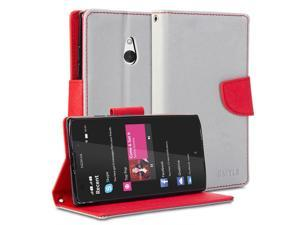 GMYLE(R) Wallet Case Classic for Nokia XL - Silver Grey & Red Cross Pattern PU Leather Slim Wallet Case Flip Stand Cover