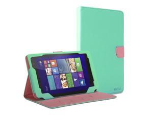 GMYLE(R) Wallet Case Classic for Dell Venue 8 Pro - Mint Green & Pink Cross Pattern PU Leather Slim Stand Case Cover
