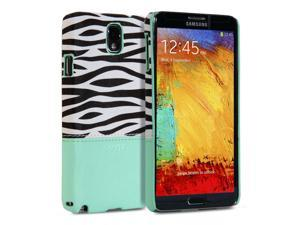 Hard Case Coated for Samsung Galaxy Note 3 III N9000 - Turquoise blue Zebra Pattern Snap On Hard Shell Back Case