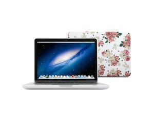 "Hard Case Print Frosted for MacBook Pro 13"" with Retina display - White Floral Rose Pattern Matte Coated Hard Case Cover"