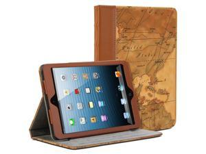 Book Case Vintage for iPad mini - Brown Map Pattern Book Folio Stand Case Cover (with card slots and money pocket)