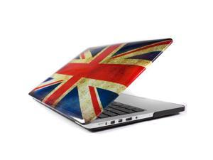Macbook Pro 13 RETINA DISPLAY Vintage Union Jack UK Great British Flag Glossy Crystal Hard Case Cover Black bottom case