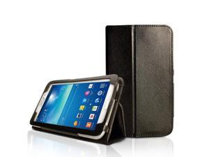 (TM) Black PU Leather Slim Folio Magnetic Flip Stand Case Cover with elastic hand strap for Samaung Galaxy Tab 3 7 inch