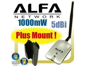 ALFA AWUS036H Upgraded to 1000mW 1W 802.11b/g High Gain USB Wireless Long-Rang WiFi network Adapter with 5dBi Antenna - for Wardriving & Range Extension