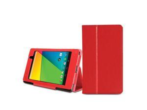 Red Crazy Horse Pattern Folio Stand Case Cover with Wake/Up Function Pen Holder for Nexus 7 FHD 2nd 2013 Generation