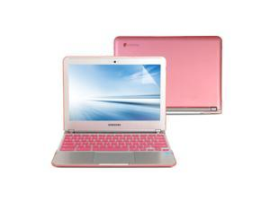 Hard Case Frosted for Samsung Series 3 Chromebook 11.6 - Pink 3 in 1 Hard Case Cover - Keyboard Cover - Screen Protector