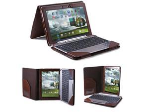 GMYLE Brown PU Leather Pouch Portfolio Flip Folio Docking Stand Carry Case Cover with Keyboard Case for ASUS Transformer TF300