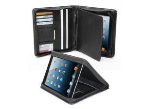 GMYLE (TM)Black PU Leather Multi-Purpose Business Portfolio NotePad Velvet Interior Case Cover for iPad 2/iPad 3/iPad4