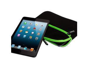 Black Neoprene Sleeve Case Cover with Two Green Zipper Pocket for iPad Mini Galaxy Tab 2 7.0 Nexus 7  Kindle Fire HD 7