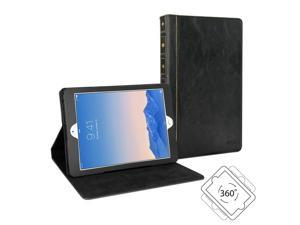 GMYLE Book Case Vintage 360 for iPad Air 2 - Black PU Leather Protective Book style Flip Folio Slim Fit Stand Case Cover
