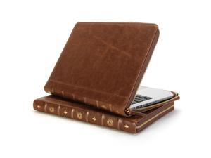 Book Case Vintage for MacBook Pro Retina 15 inch - Brown PU Leather Laptop Zipped Case Cover