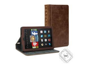 Amazon Fire HD 7 Case, GMYLE Book Case Vintage 360 - Brown PU Leather Protective Book style Flip Folio Slim Fit Stan