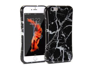 iPhone 6 Case, GMYLE Anti Shock Slim Snap On Protective Back Case - Black Marble Pattern
