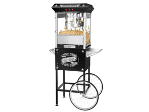 Great Northern Paducah 8oz Popcorn Popper Machine w/Cart, 8 Ounce - Black